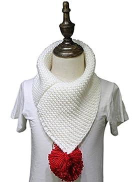 Unisex niños del bebé hecho punto grueso bufanda del invierno caliente con bola de pelo