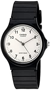 Casio Unisex Quartz Watch with White Dial Analogue Display and Black Resin Strap MQ24/7B