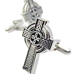 Boutons De Manchette De Croix Celtique (Avec Boîte-Cadeau)