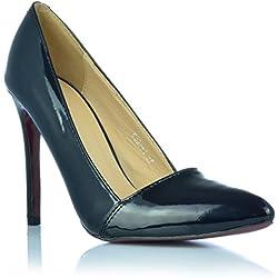 Elegante Damenschuhe High Heels Stiletto Pumps Abendschuhe Lack-Optik Gr. 36- 40 EUR 39 Schwarz