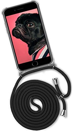 passend für iPhone 7 Plus/iPhone 8 Plus | Stylische Kordel Kette - Kristallklare Handyhülle mit Band zum Umhängen in Schwarz ()