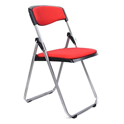 ZENGAI Fußhocker Luxus gefüllter Klappstuhl aus Stahlgewebe, 3 Farben (Farbe : Red, größe : 41.5x49x79cm)