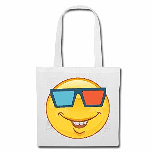 Tasche Umhängetasche LUSTIGER Smiley MIT 3D Brille Smileys Smilies Android iPhone Emoticons IOS GRINSE Gesicht Emoticon APP Einkaufstasche Schulbeutel Turnbeutel in Weiß
