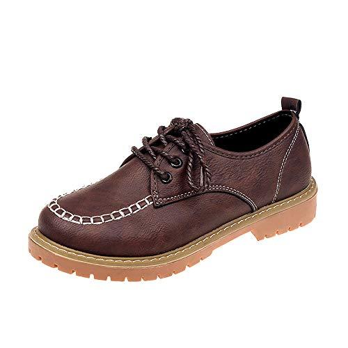 Preisvergleich Produktbild Tatis Shoes Einfarbige Schuhe der flachen Farbe PU-Leders Flache beiläufige Weinlese Britische Art der Weinlese Einzelne Damen Schuhe Mode Knöchel Flach Leder Casual Schnürschuhe Kurze Stiefel