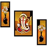 SAF Diwali Gift Print Painting (Synthetic, 35 Cm X 2 Cm X 50 Cm, Set Of 3)