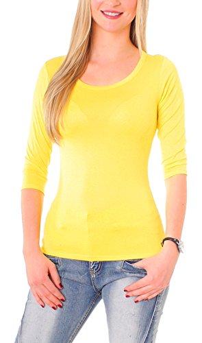Damen Basic Halbarm T-Shirt Unterziehshirt Unterhemd Stretch Jersey Rundhalsshirt Rundhals 3/4 Arm Eng Uni Einfarbig Gelb ()