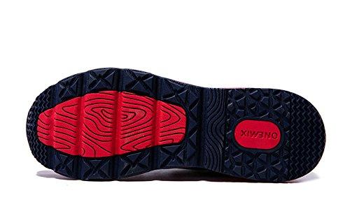 Onemix traspirante Mid-Top Mesh Air Cushion Scarpe da corsa Outdoor Uomo Blu scuro/Rosso
