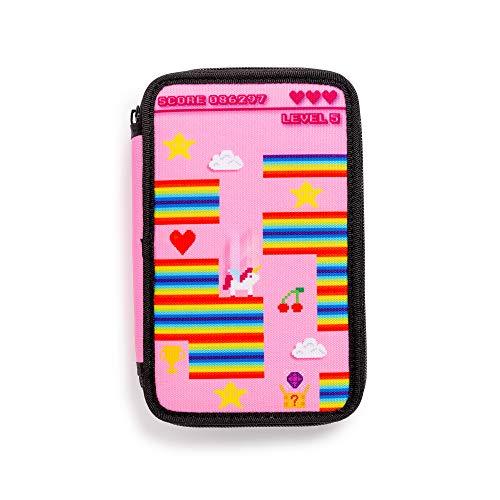 Carioca pixel case | astuccio 3 scomparti con materiale scolastico, pixel rosa (43030/pink)