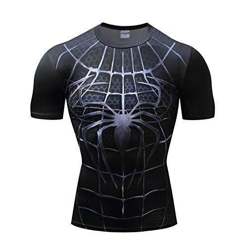 JUFENG Spiderman 3D Print T-Shirts Männer Compression Fitness Shirts Superheld Tops Marvel Kostüm Kurzarm Fitness Crossfit T-Shirts Cosplay Und Themenparty,B-M