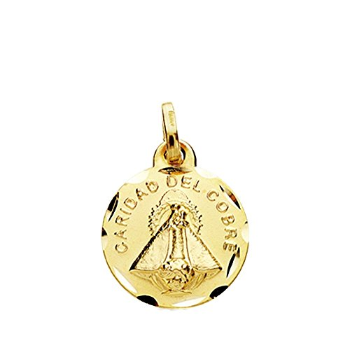 Medalla Oro 18K Virgen Caridad Del Cobre 14mm. Cerco Tallado [Ab3806Gr] - Personalizable - Grabación Incluida En El Precio