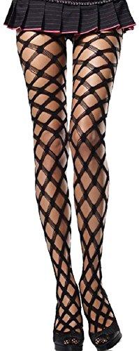 Leg Avenue Damen Strumpfhose Einheitsgröße One Size 38 - 40 Schwarz Netzstrumpfhose 5 Fach Gewebte Maschen 60 Den (Strumpfhosen Gewebte)