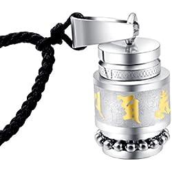 HIJONES Unisex Acero Inoxidable Buda Mantra Botella Colgante Collar, Oro
