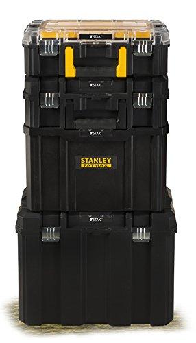 Stanley FatMax Mobile Werkzeugbox / Werkzeugkoffer TSTAK (zum Aufbewahren und Transportieren, Teleskophandgriff, Komfortgriff, Metallschließen, Ösen für Vorhängeschloss, Etikettenhalter) FMST1-75753 - 4