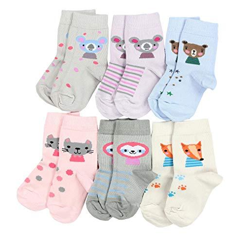 TupTam Kinder Unisex Socken Bunt Gemustert 6er Pack, Farbe: Mädchen 7, Socken Größe: 19-22 - 6 Pack Socken