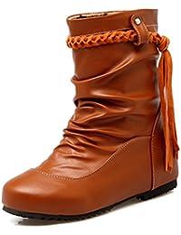 SHOWHOW Damen Warm Rund Zehen Übergroß Keilabsatz Quaste Kurzschaft Stiefel Braun 37 EU 4rxt2T