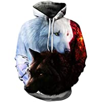 Dragon868 Herren Kapuzenpullover 3D Wolf Drucken Sweatshirt Pullover Gestrickte Hoodie Sweater