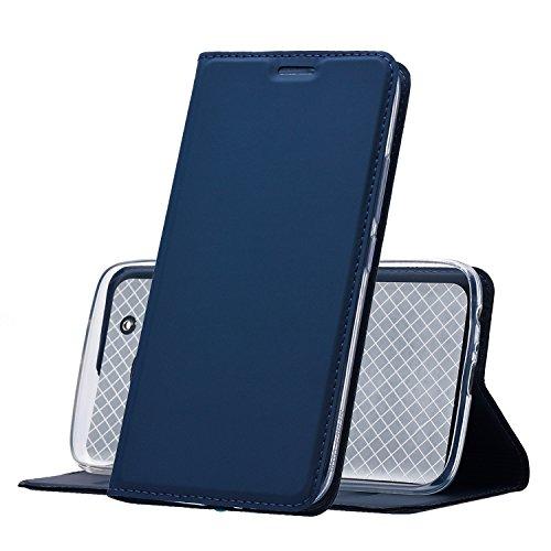 MUKUTECH Motorola Moto G5 Plus Hülle Handyhülle Ultra Slim Cover Schutzhülle, unsichtbarer Magnetverschluss, Ständer, Kartenfach und TPU Innenschale, Case für Motorola/Lenovo Moto G5 Plus, Blau