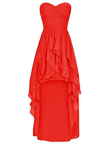 Dresstells Robe de demoiselle d'honneur Robe de cérémonie asymétrique en mousseline bustier en cœur Rouge