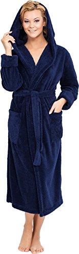 Merry Style Damen Bademantel mit Kapuze Ula Navyblau