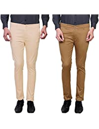 Variksh Beige And Khaki Color Cotton Casual Slim Fit Trouser For Men's (Pack Of 2)