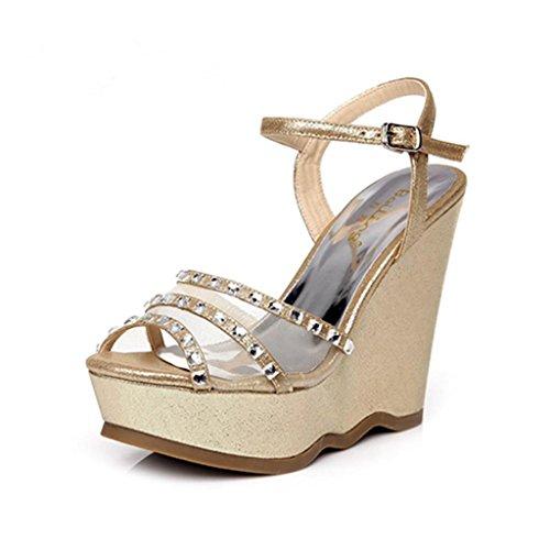 BaiLing Damen Sommer Sandalen / Wedge Ferse wasserdicht / Strass dicke Boden / Net Garn kleine Größe Schuhe Black