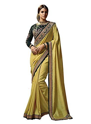Kjp Villa Women\'s Cinon Silk Yellow Free Size Embroidery Saree With Blouse Pics sakshi-1149