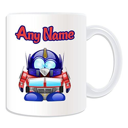 Personalisiertes Geschenk–Optimus Prime Tasse (Pinguin Film Charakter Design Thema, weiß)–Jeder Name/Nachricht auf Ihre Einzigartiges–Kostüm Film Superheld Hero Transformers Autobot Roboter Alien