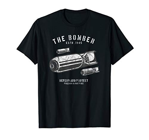The Bomber Est 1945 Defend and Protect Retro Distressed T-Shirt -