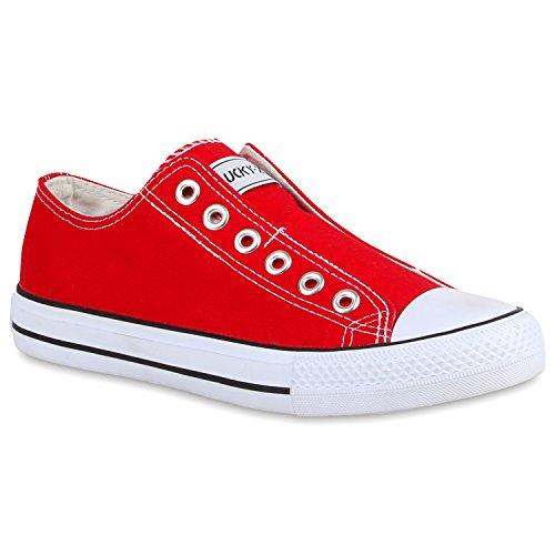 Damen Schuhe Sneaker Slip-ons Slipper flache Turnschuhe Rot