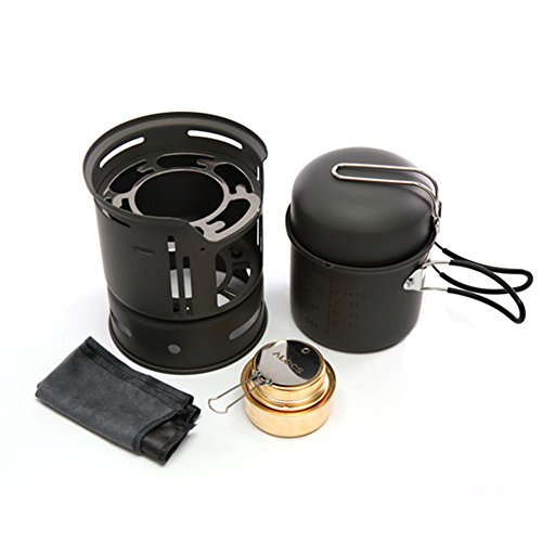 Tentock Ultralight Camping 7 Pieces Portable Cookware Set with Pan Pot Bowl Alcohol Stove Windscreen for 1-2 people Hiking Picnic Barbecue, with Carrying Bag