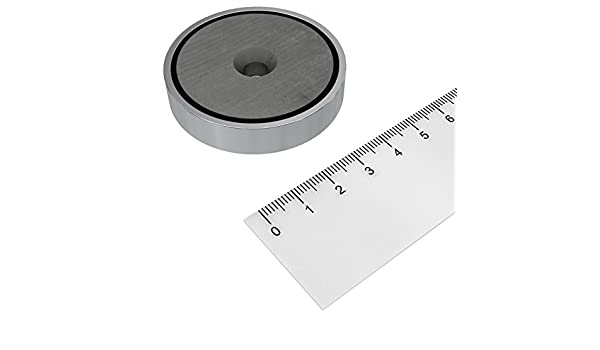 MIT BOHRUNG UND SENKUNG FÜR AUSSENBEREICH BIS 200°C FERRIT TOPFMAGNET Ø 50 mm