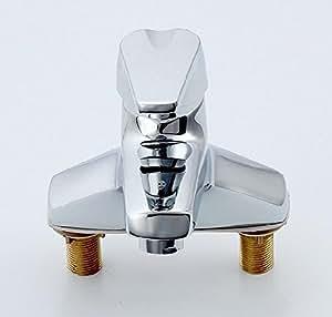 BFDGN Semplice Morden durevole e robusto il rame spazzolato per rubinetti lavandini bagno Ellisse a caldo e a freddo a spirale foro singolo di corrosione in acciaio inox resistente a caldo e a freddo Rubinetti per lavandini bagno (Dare 1/2 Hot &a freddo dei tubi flessibili acqua )
