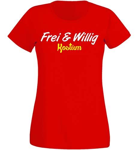 Böse Kostüm Narren - T-Shirt Damen - Frei Willig Kostüm - Karneval Fasching K (XS)