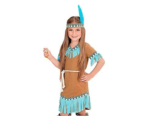 Widmann 06657 - Kinderkostüm Indianerin, Kleid, Gürtel und Stirnband, braun, Größe 140