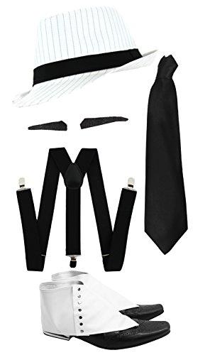 Gangster Kostüm der 1920er Reihe -Zubehör Set Deluxe- Schwarze Hosenträger + Schwarze Krawatte + Schwarzer Spiv/Schnurrbart + Gamaschen + Weißer (York Gangster New Kostüm)