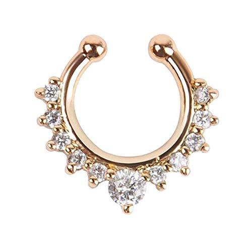 EROSPA® Septum-Piercing - Nasen-Piercing-Ring - Ohne Loch stechen - Schmuck Nasenring Nasenstecker Fake Hoop Hufeisen - 1 Stück - Gold