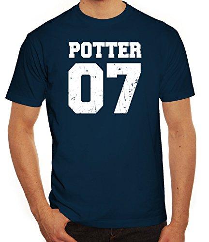 Fanartikel Fan Kult Film Trikot Herren T-Shirt Potter 07, Größe: XL,Dunkelblau