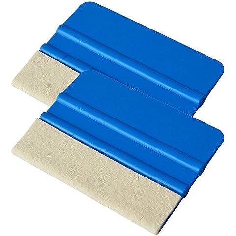 Ehdis® [2 piezas] la alta calidad de fieltro Edge escobilla de goma de 4 pulgadas para la herramienta de aplicador de película del vinilo del coche del raspador Tinte calcomanía con el fieltro de lana Edge - azul suave PP raspador