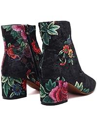ZHRUI Botas de Gamuza sintética Mujeres Bordado de Flores Bloque de Zapatos de Cremallera (Color