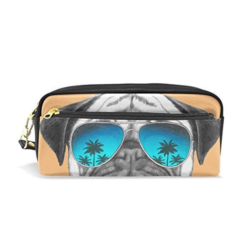 Lustiger Mops-Hund mit Sonnenbrille, Federmäppchen für Kinder, Jungen, große Ledertasche mit Reißverschluss für Schule, Studenten, Kosmetik, Make-up