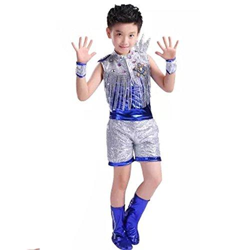 Byjia Kinder Tanzen Kostüm Hip Hop Jazz Mädchen Boy Quasten Rock Shorts Street Dance - Lyrische Hip Hop Kostüm