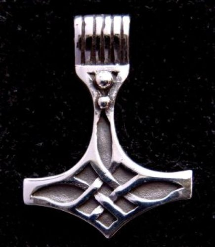 Battle-Merchant Anhänger Thorshammer mit keltischem Knoten aus echt Silber - Wikinger Thor Odin Germanan