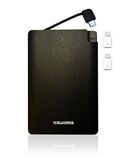 Iceworks 3000 Power Bank - Integriertes Kabel Tragbarer Stromspeicher - Ultradünn im Taschenformat externes Akkuaufladegerät für Android und iPhone mit Apple Adapter inbegriffen