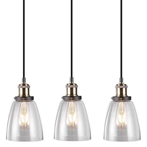 3er Set Luxus Pendel Hänge Leuchten Schlaf Gäste Zimmer Glas Decken Lampen klar