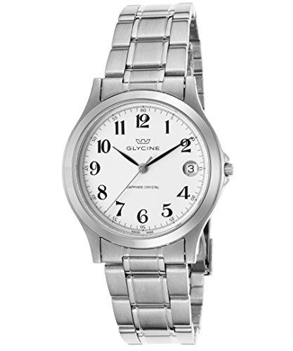 Glycine 3690–14-sap-mb da uomo in acciaio INOX, quadrante bianco nero mani orologio