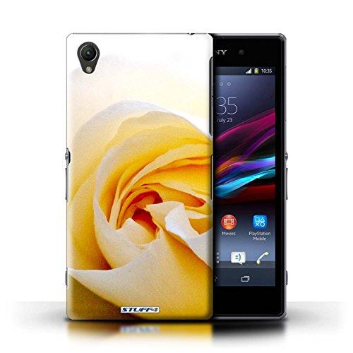 Kobalt® Imprimé Etui / Coque pour Sony Xperia Z1 / Clair Rose conception / Série floral Fleurs Blanc Rose