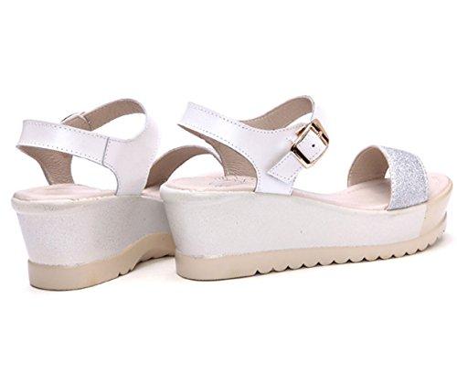 Moderne Sommer Damen Keilabsatz Bunte Farbe Anti Abnutzen Bonbonfarbe Süße Offene Zehen Weiche Sohle Gummi Anti Rutsch Strandschuhe Sandalen Weiß
