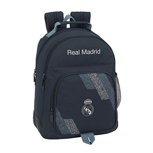 Safta- Mochila Doble Adaptable A Carro Real Madrid, Color Azul, 42 cm (611834773)