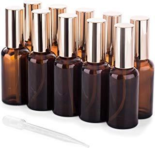Lot de 10 petites bouteilles de vaporisateur en verre vides pour huiles essentielles, flacons en verre ambré 50 ml