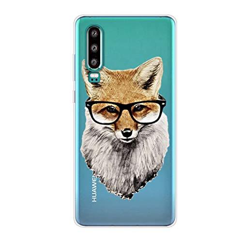 Karomenic Silikon Hülle kompatibel mit Huawei P30 Lite Kreative Cartoon Transparent Handyhülle Durchsichtig Schutzhülle Crystal Clear Weiche Soft TPU Tasche Bumper Case Etui,Brille Fuchs